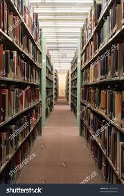 college library book stacks bookshelves full stock photo 13720369