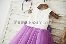 purple tulle ivory lace purple tulle wedding flower girl dress with matching