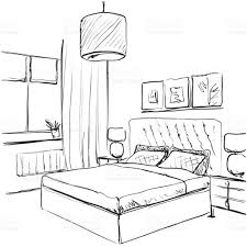 bedroom interior sketch hand drawn furniture stock vector art