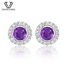 amethyst stud earrings r 0 86ct amethyst stud earrings real 925 sterling