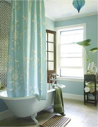 porcelain claw foot tub turquoise blue shower curtain blue