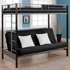 Loft White Laminate Flooring Black Metal Lift Bed With Silver Ladder Having Black Sofa With