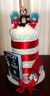 cat in the hat diaper cake perfect for a twin baby shower gift
