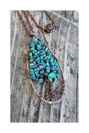 real turquoise pendant necklace images Natural genuine turquoise chips antique copper teardrop tree of jpg