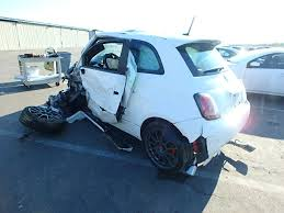 Fiat 500 Abarth White 2015 Fiat 500 Abarth White 1 4 5 Speed Damaged Front For Parts