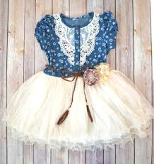 girls denim tutu dress flower dress western dress cowgirl