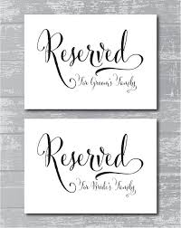 wedding signs template amazing reserved table signs for wedding 22 with additional