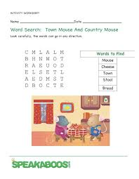 word search the town mouse and the country mouse speakaboos