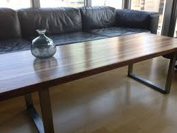 custom made walnut stainless steel butchers block coffee table