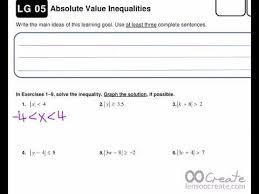 lg 05 absolute value inequalities worksheet answer key youtube