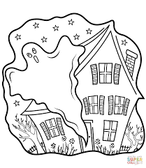 haunted houses with ghost coloring page free printable coloring