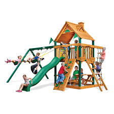 Playground Flooring Lowes by Shop Gorilla Playsets Chateau Ii Residential Wood Playset With