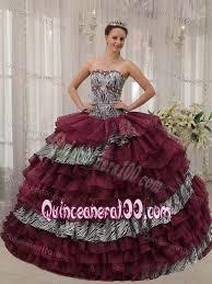 burgundy quince dresses burgundy sweetheart dresses quinceanera with zebra print ruffles