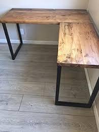 Corner Desk Metal L Shaped Desk Reclaimed Wood With Metal Base