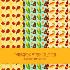 three different thanksgiving patterns vector free