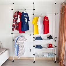 sobuy telescopic wardrobe organiser hanging rail clothes rack