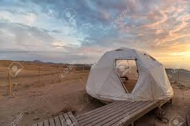 desert tent dome tent in desert at sunset stock photo picture and royalty