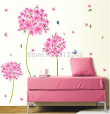sticker chambre fille la fundecor pissenlit fleurs décoration pour chambre fille
