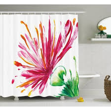 Oriental Shower Curtains Asian Lily Shower Curtain Shower Curtain Rod