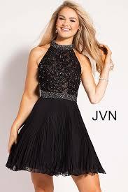 klshort black dresses black fit and flare embellished high halter neck bodice dress