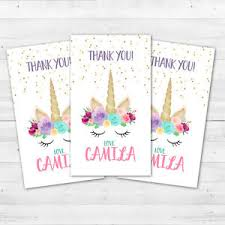 thank you tags 10 unicorn horn birthday or baby shower party favors personalized