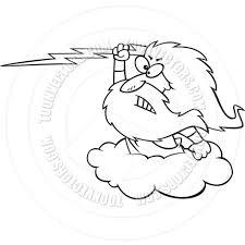 cartoon zeus lightning bolt black u0026 white line art by ron