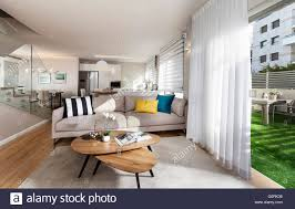 modern house modern open plan living room with opened sliding