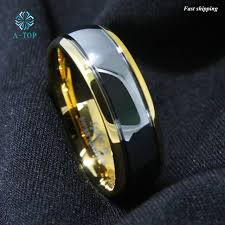 free wedding band aliexpress buy 8mm dome gold men s tungsten ring wedding