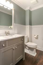 tranquil bathroom features upper walls painted gray green and