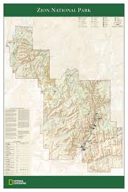 map of zion national park ngs zion national park wall map