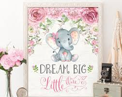 Pink Elephant Nursery Decor Nursery Decor Elephant Etsy