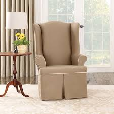 Furniture Comfortable Wingback Chair Slipcover With Cozy Berber - Slipcovers for living room chairs