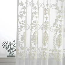 Washing Voile Curtains Embroidered Sheer Curtains European Palace Designs Beige Window
