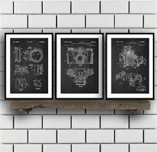 camera patent prints camera set of three vintage camera