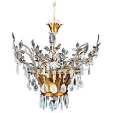 wonderful baguès gold gilt pagoda rock crystal vintage chandelier