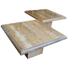 travertine coffee table square pair of monumental square travertine coffee tables for sale at 1stdibs