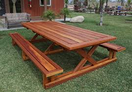 Round Redwood Picnic Table by Chris U0027s Picnic Table With Attached Benches Foreverredwood Com