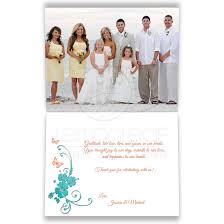 custom wedding photo thank you card turquoise coral tropical