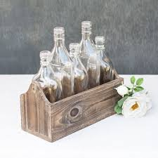 bottle planter box 5 glass bottles in a wood holder 10 75 inch