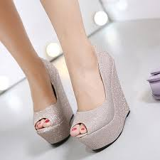wedding shoes wedges glitter shoes platform shoes high heels gold silver wedding shoes