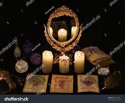 halloween pirate background fortune telling ritual tarot cards mirror stock photo 526719994