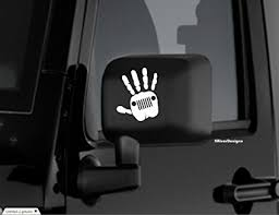 jeep wave sticker mirror amazon com jeep wave sticker decal wrangler 4 x 4 white