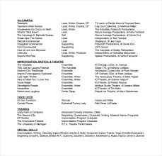 dance company resume templates theater template acting sample