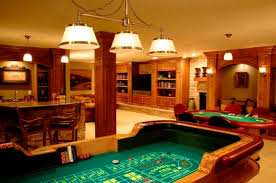 modern game room design with pool table and standing bar ideas