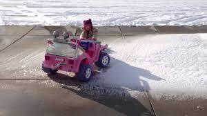 barbie jeep barbie jeep in snow youtube