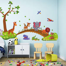 online get cheap wall stickers tree aliexpress com alibaba group cute kids wall stickers for children bedrooms removable diy baby nursery animal tree bridge wall decals