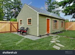 small green orange guest house back stock photo 88591018