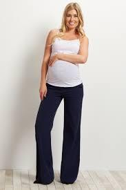 navy blue flare maternity dress pants