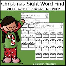 3 dinosaurs sight word christmas find samples