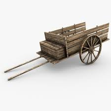 3d low poly wooden cart cgtrader